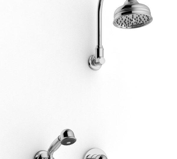 Bras de douche avec pomme de douche et douchette