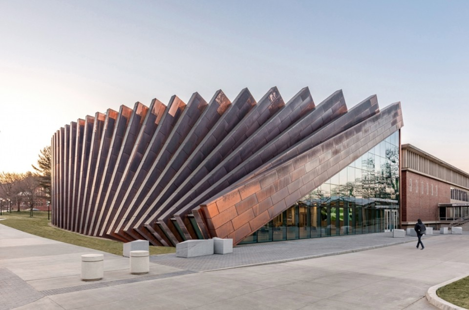 University of Massachusetts Amherst A circular extension made of copper and glass establishes a dialogue with the surrounding commercial buildings
