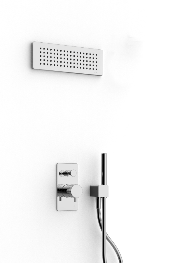 Shower arm with shower head and hand shower - Rubinetterie Zazzeri
