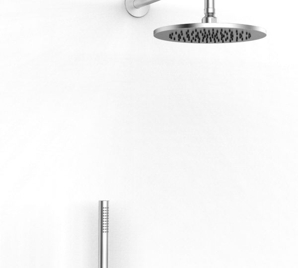Shower arm with shower head and hand shower